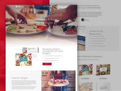 Recipeasy Landing Page recipe blog ebook food web design launchpad lab landing page