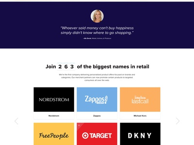 Personalized Shopping Website — Home Page shopping launchpad lab website web ux ui landing page home experience design