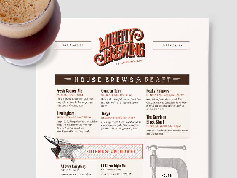 Mightybrewing menu