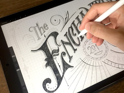 Enchanted City - Process procreate handlettering gears steampunk enchanted lettering type victorian