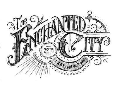 Enchanted City city enchanted art nouveau serif clocks gears ornamentation sketch victorian