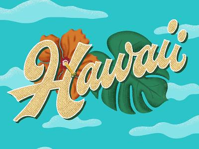 Hawaii flower foliage illustration handlettering lettering funky script tropical hawaii