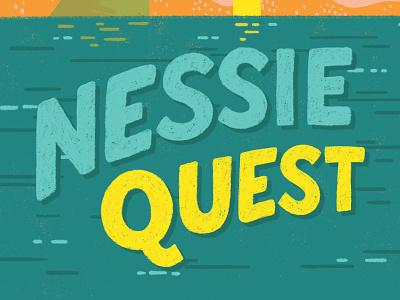 Nessie Quest type children book illustration adventure quest nessie loch ness children kid playful lettering book title