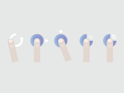 A Set of 5 Gestures [FREE] free finger gestures swipe ios iphone ipad illustration