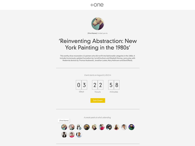 +one Event Details Page event minimalis clean grey yellow ui ux typography experience design interface numbers ticker