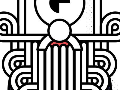"""Creatures"" - King king dog boy scuba astronaut viking pirate ufo frankenstein stroke outline illustration"