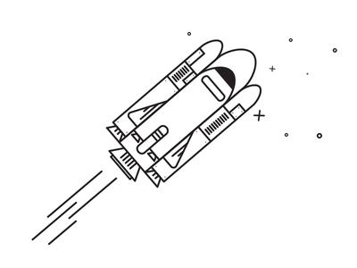 SPACE  outline space rocket stars stroke illustration nasa