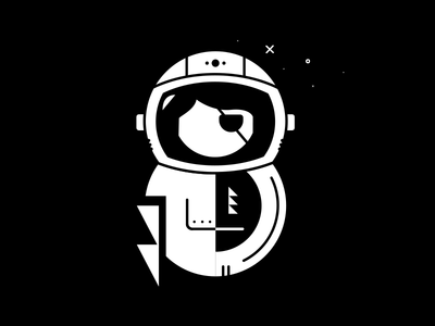 Space Pirate planets stars black and white illustration explorer astronaut empowerment girl pirate space