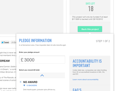 Pledge an Amount ui tooltip ux minimalist simple crowdsourcing pledge money white green blue