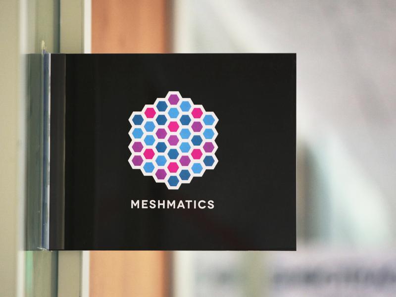 Meshmatics Office logo brand geometric hexagon technology startup mega mega inc meshmatics bright sign office