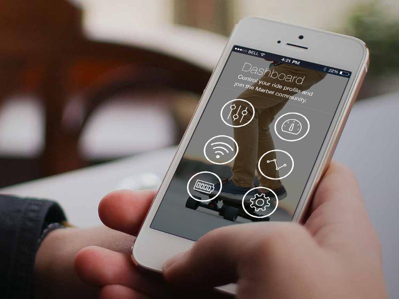 Electronic Skateboard iPhone App mega mega inc iphone app interface user interface ui buttons mobile
