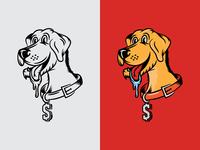 Cash Money adobe yellow lab labrador brand cartoon dog illustration