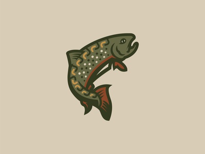 Brookie Full Color branding linework fish mark logo brand illustration trout brook trout