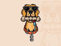 Cash sunglasses cartoon labrador yellow lab dog logo branding illustration adobe