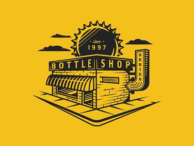 Bottle Shop Illustration Concept michigan beer series shop building bottle vector branding brand illustration