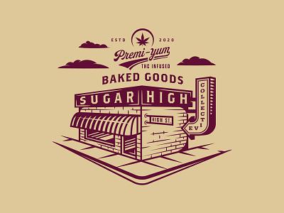 Sugar High Collective_01 baked pot store edible marijuana vector michigan brand illustration