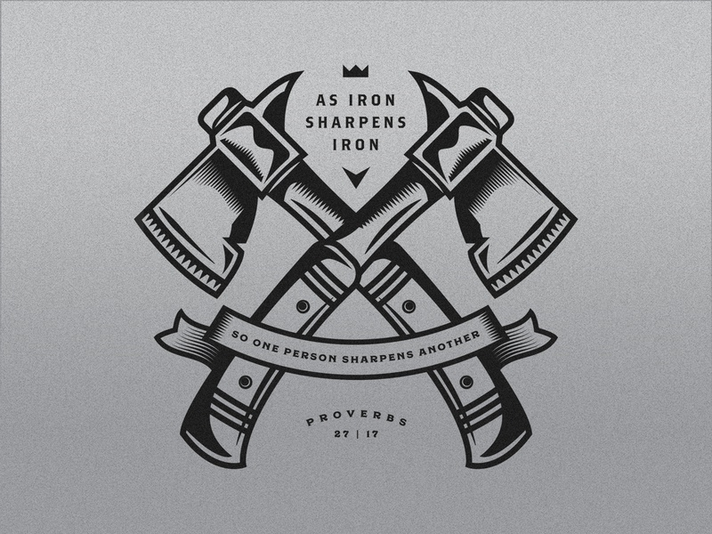 As Iron Sharpens Iron bible axe hatchet michigan vector badge illustration
