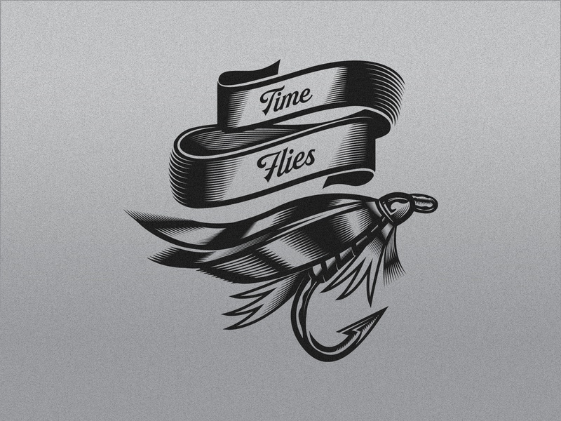 TIME FLIES texture badge vector fly fishing nymph illustration hook fishing fly