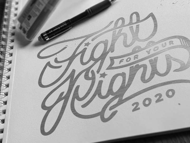 FIGHT FOR RIGHTS vote usa pencil script 2020 election mockup lettering typogaphy