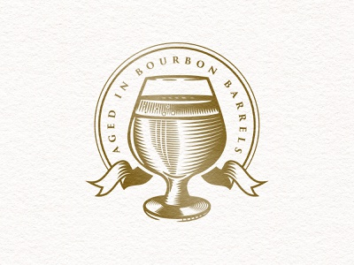 Barrel-Aged texture vector badge bourbon barrel-aged snifter beer illustration