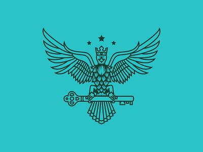 Falcon King (WIP) key crown linework beer bird hop falcon brand vector illustration