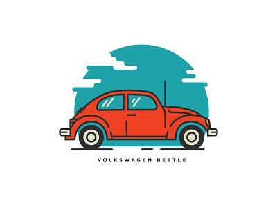 Beetle (WIP) flat line asset volkswagen car bug illustration beetle vw