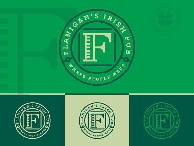 Flanigans Variation green concept badge logo pub irish flanigans