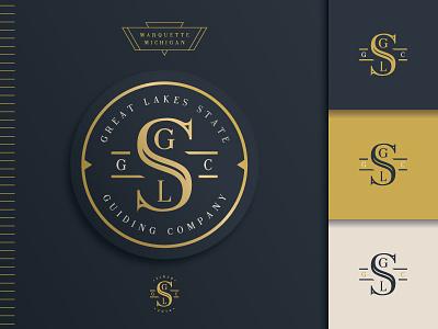 GLSGC_2 great lakes guiding nautical gold badge illustration brand mark logo