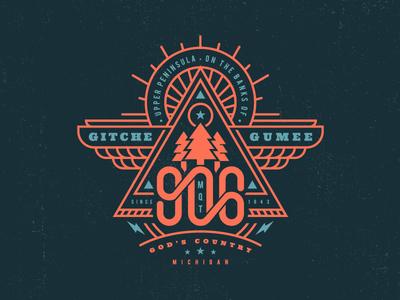 Yooper Day Illustration typography wings tree patch logo badge illustration michigan