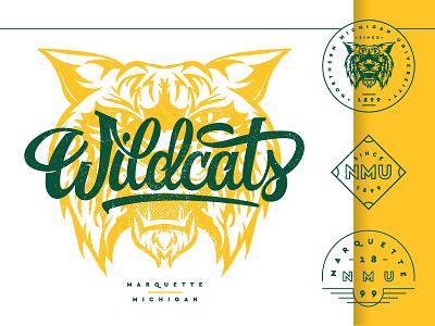 Vintage_Wildcat michigan lettering badge script athletic university wildcat vintage