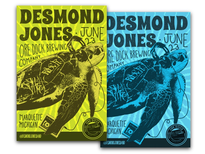 Desmond Jones Poster gig poster brewery music band turtle illustration poster