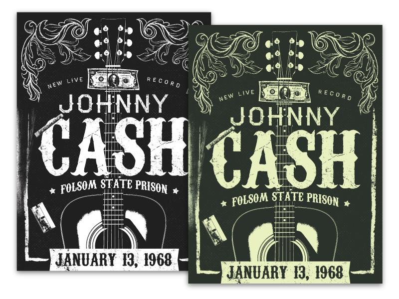 Cash gig poster johnny cash money floral guitar cocaine poster illustration