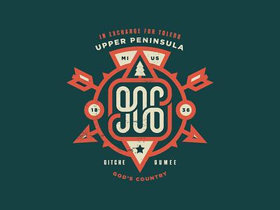 906 Day 2018 typogaphy concept line mark 906 u.p. patch badge illustration michigan