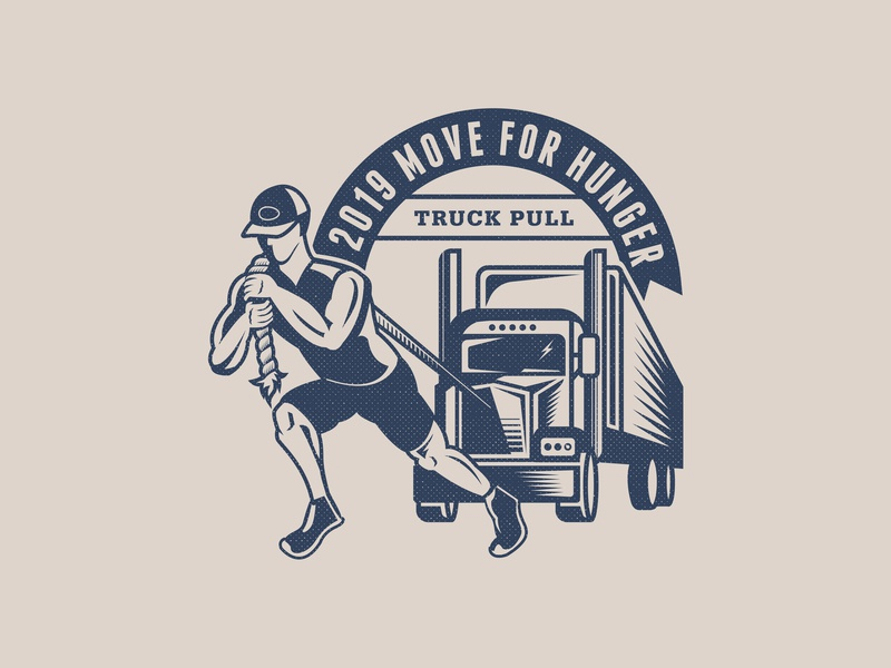 Truck Pull illustration rope athlete patch truck pull mack semi truck vector illustration