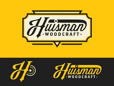 Huisman Woodcraft kit identity brand h wood lettering woodcraft script patch monogram mark logo branding