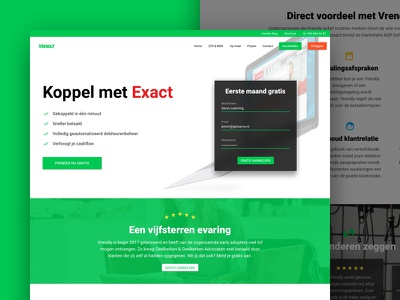 New webpage for www.vrendly.nl list items review five stars sign-up form green marketing page landing page one page webpage list sign-up form