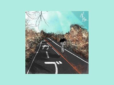 The Road cartoon japan sky boys kids road color blue art photoshop design illustration art illustration
