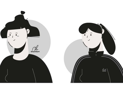Character People Illustration - 01 potrait cute grayscale art illustration art design character people girl boy illustration