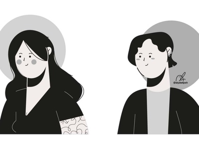 Character People Illustration - 03 cute character blackandwhite characterdesign potrait people grayscale girl boy design art illustration art illustration