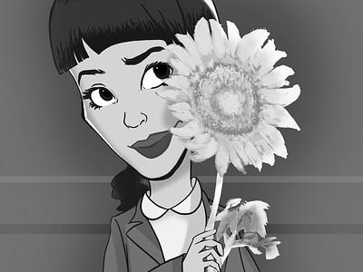 Me and Sunflower character design sunflower flowers black and white caricature photoshop girl design illustration art illustration