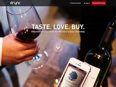 Drync Homepage design wine app ecommerce imagery parallax landingpage homepage