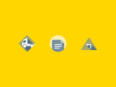 Empty State Icons emptystate notes signage truck travel geometric illustration icons