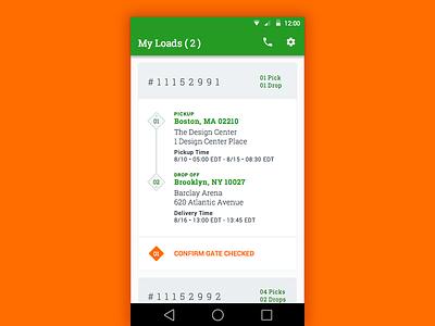 Load List slabserif trucking progress travel card list materialdesign android