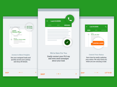 Intro Screens intro onboarding tutorial slabserif trucking travel materialdesign android