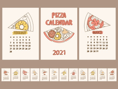 PIZZA calendar 2021 minimalism icon set design flat illustration line outline food vector 2021 calendar calendar 2021 pizza