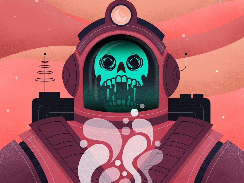 Out Of This World spaceman out of this world neon sci-fi astronaut astro space design skull illustration coffee