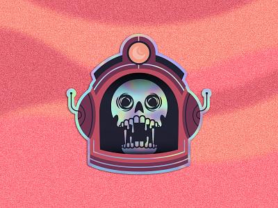 Astro Skull holographic stickermule space astronaut astro skull