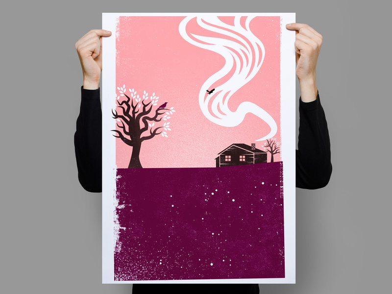 Good Bye Stranger texture house screenprint goodbye tree bird illustration