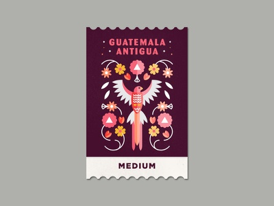 Guatemala Antigua  quetzal bird label stamp sticker antigua guatemala coffee