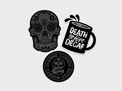 Stickers skull mug death before decaf stickers